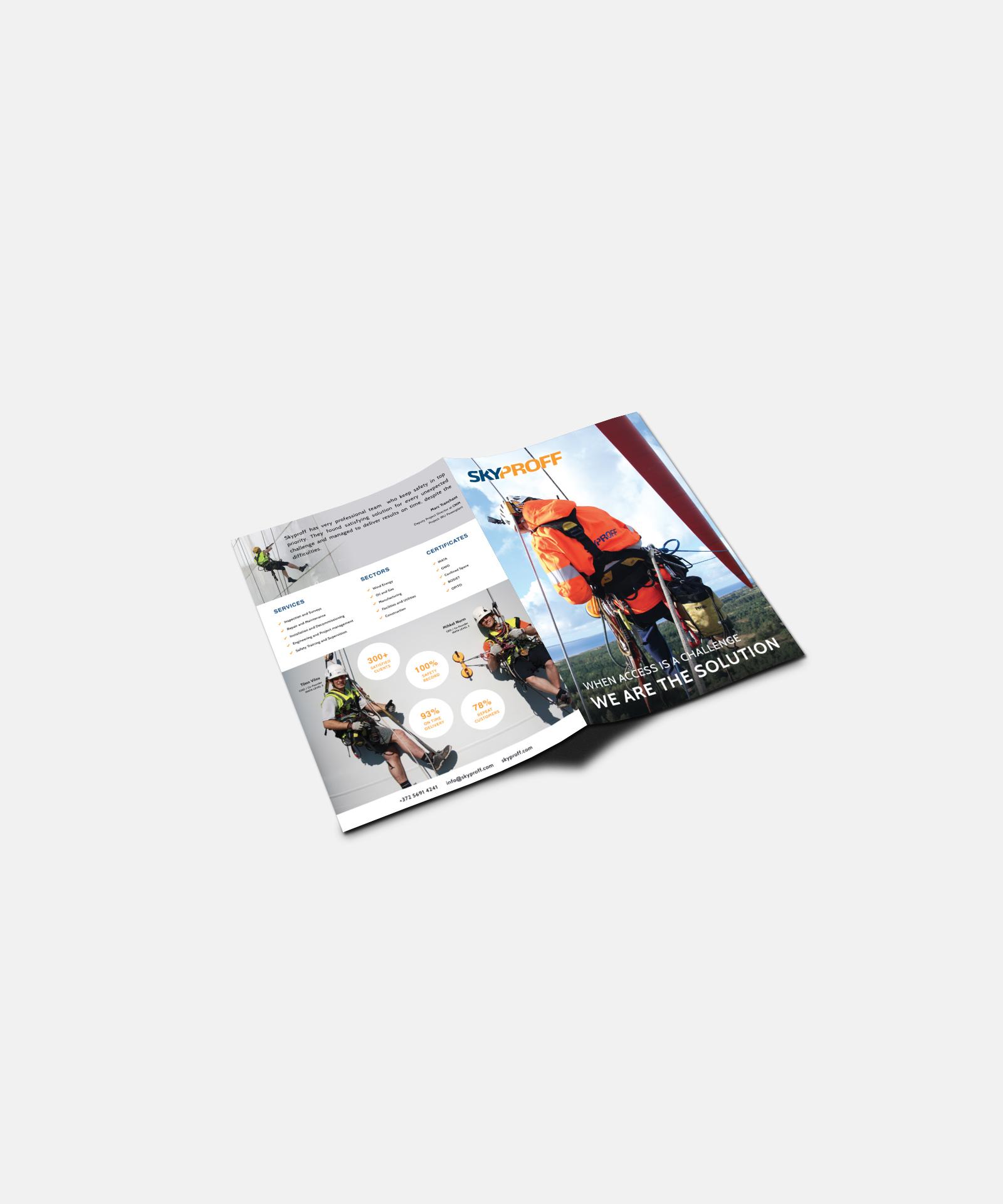 Manimal loi esitteen designin ja sommittelun Skyproffille.